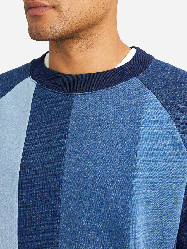 MEDIUM INDIGO blue long sleeve crew neck sweatshirt atlas indigo pieced crew neck sweatshirt md indigo