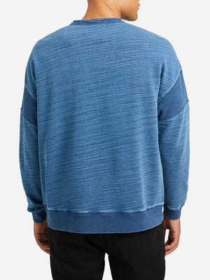 MEDIUM INDIGO long sleeve crew neck t shirt darcy indigo pieced crew neck md indigo