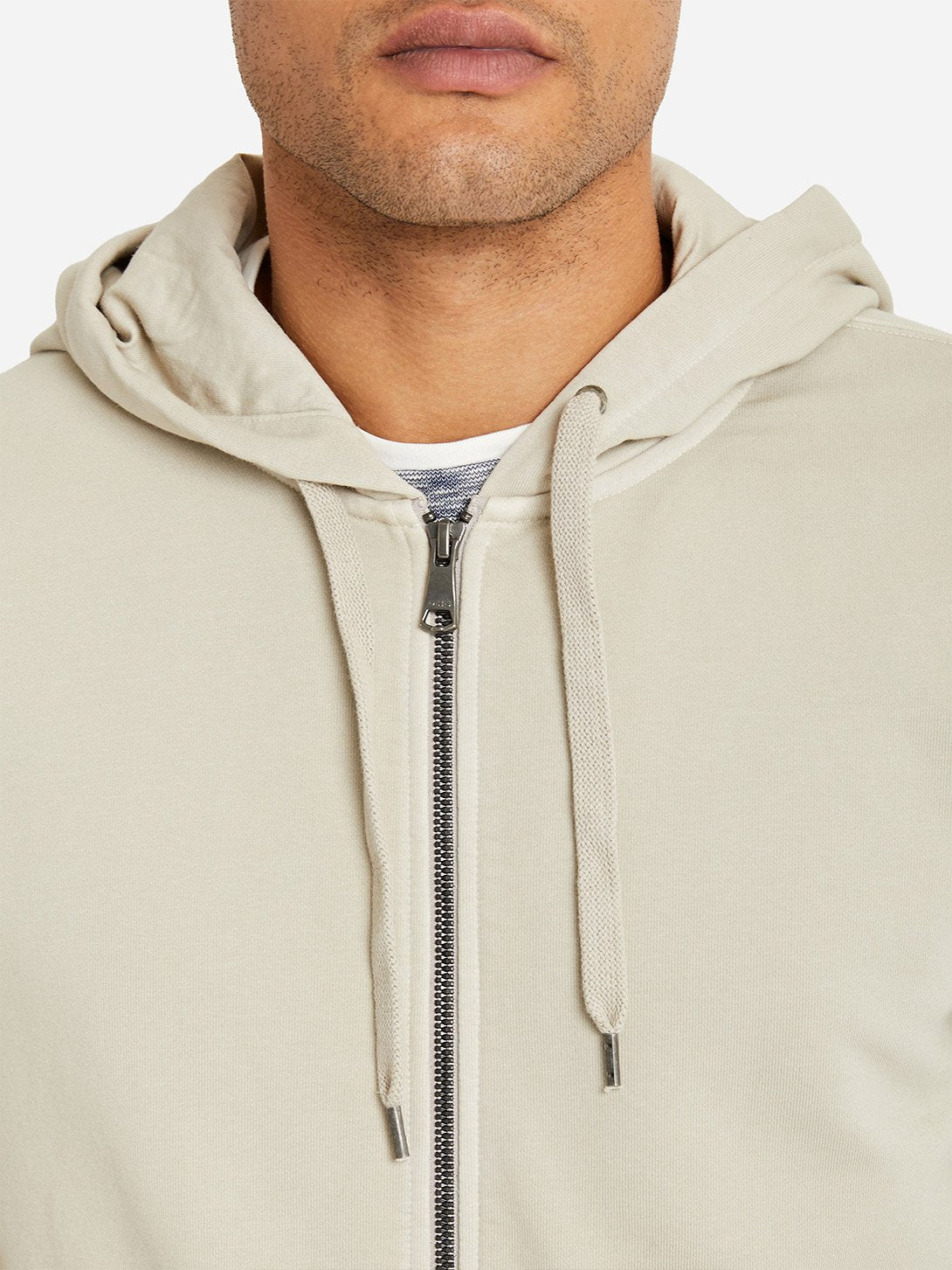 CEMENT GREY zip up hoodie for men by ons clothing