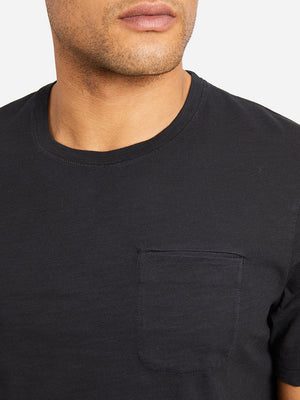 JET BLACK sleeve pocket crew neck t shirt bowery slub crew neck tee black