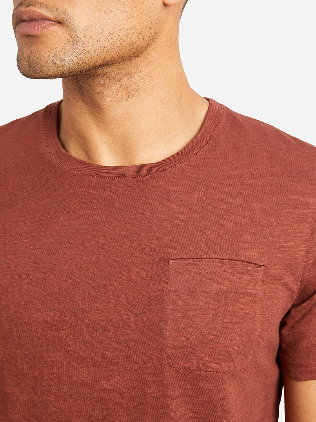BURNT BRICK RED sleeve pocket crew neck t shirt bowery slub crew neck tee burntbrick