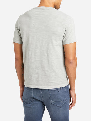 GREY short sleeve pocket crew neck t shirt bowery slub crew neck tee grey