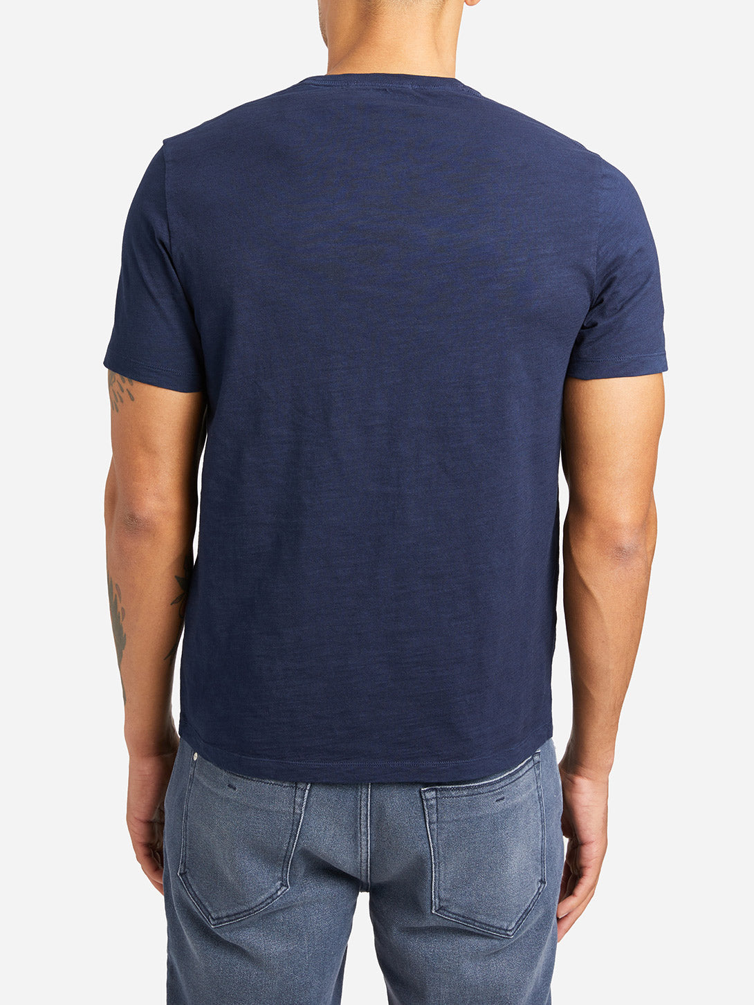 NAVY sleeve pocket crew neck t shirt bowery slub crew neck tee navy