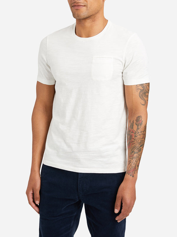 WHITE short sleeve pocket crew neck t shirt bowery slub crew neck tee white