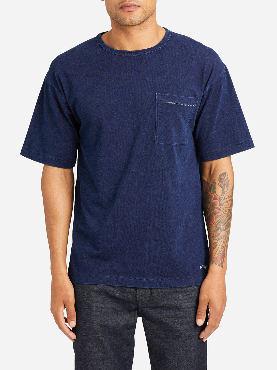 DARK INDIGO short sleeve crew neck t shirt men marcy crew neck pocket tee dk indigo