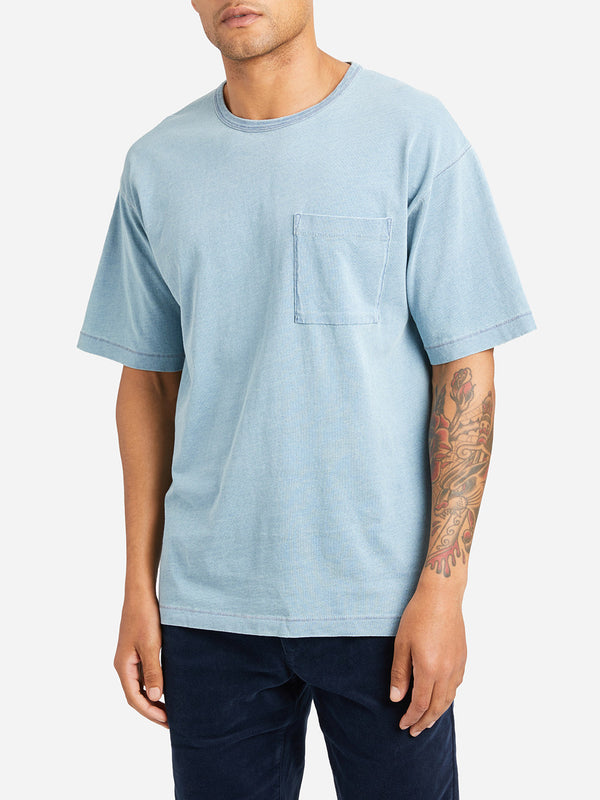 LIGHT INDIGO short sleeve crew neck t shirt men marcy crew neck pocket tee lt indigo