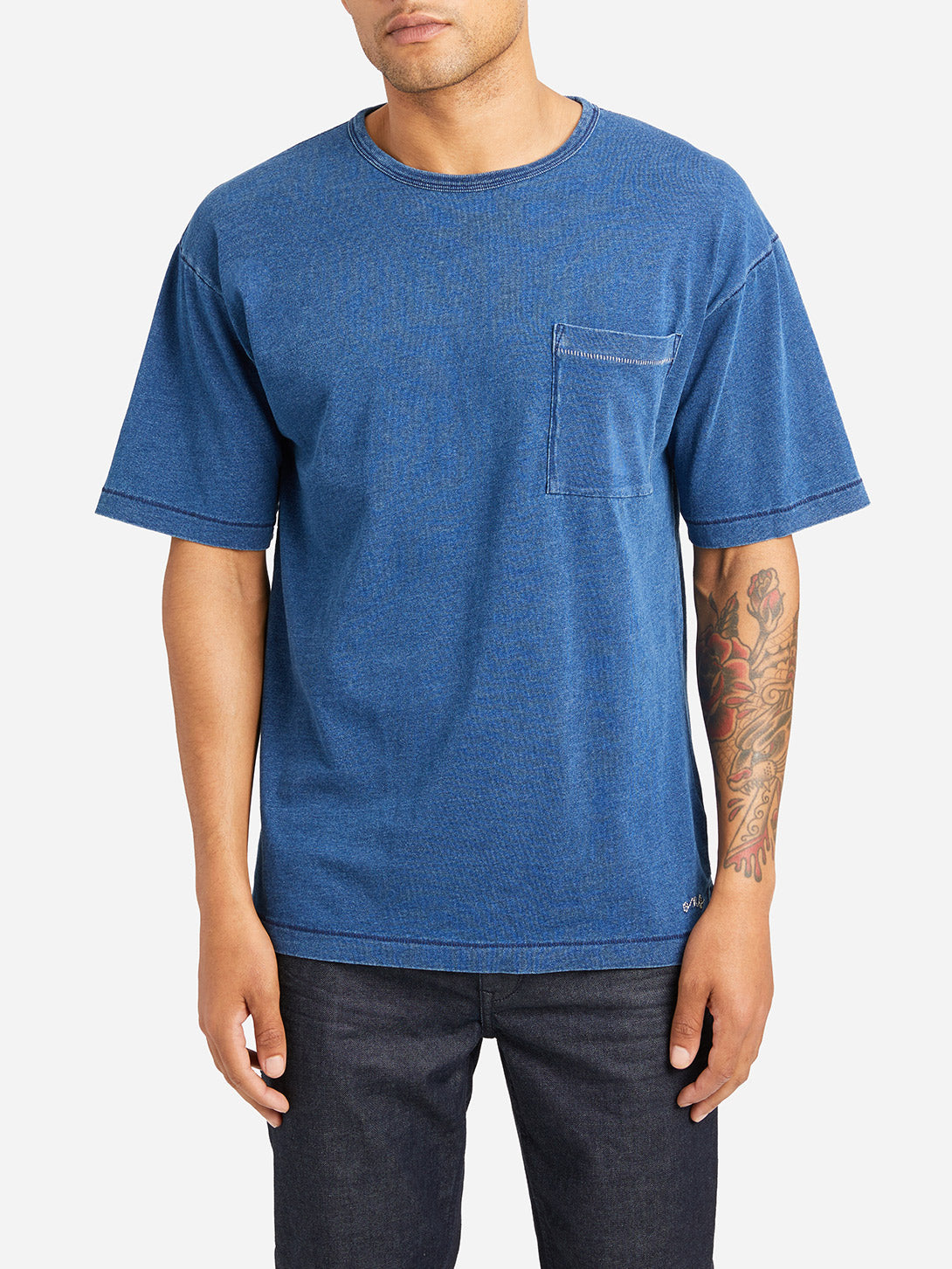 MEDIUM INDIGO short sleeve crew neck t shirt men marcy crew neck pocket tee md indigo