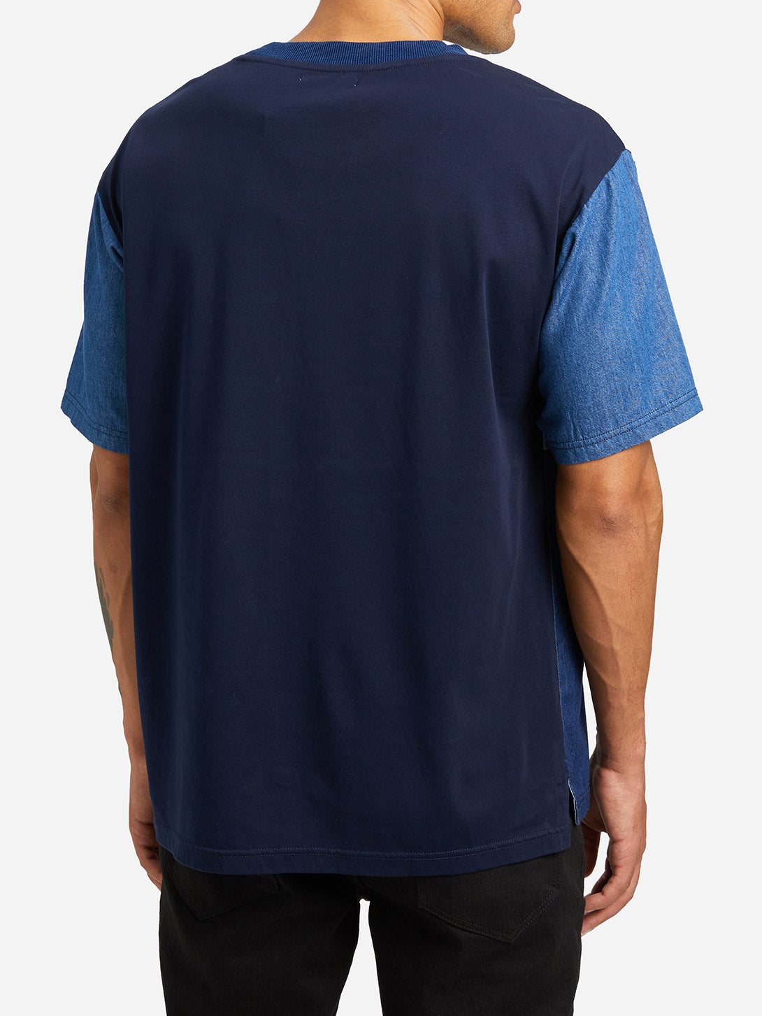 MEDIUM INDIGO shirt sleeve crew neck t shirt mens varick indigo patchwork tee md indigo