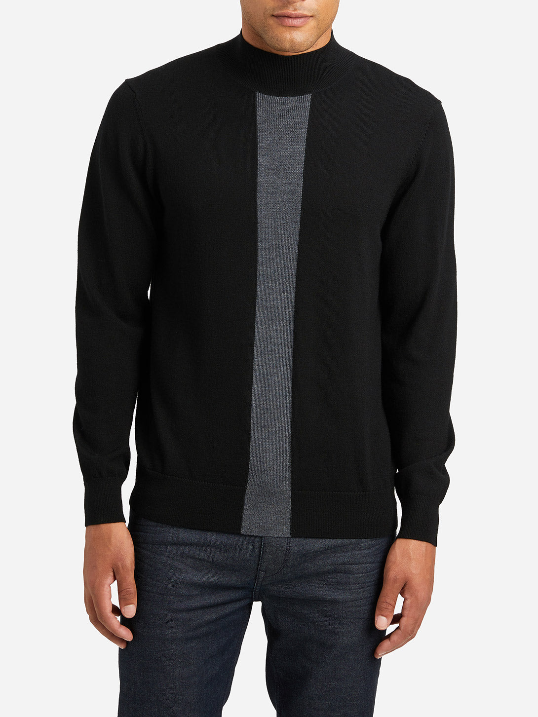 JET BLACK STRIPE sweaters for men mason mock neck sweater ons clothing