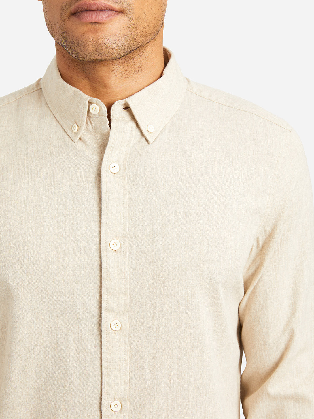 HEATHER BEIGE button down collar shirt fulton peached twill shirt beige heather