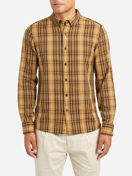 Fulton Peached Check Shirt CAMEL