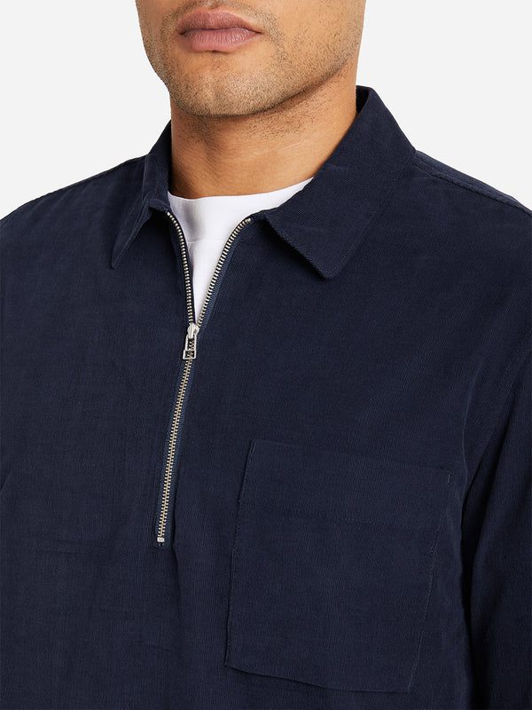 NAVY zip up collar shirt for men emile zip woven shirt by ONS Clothing