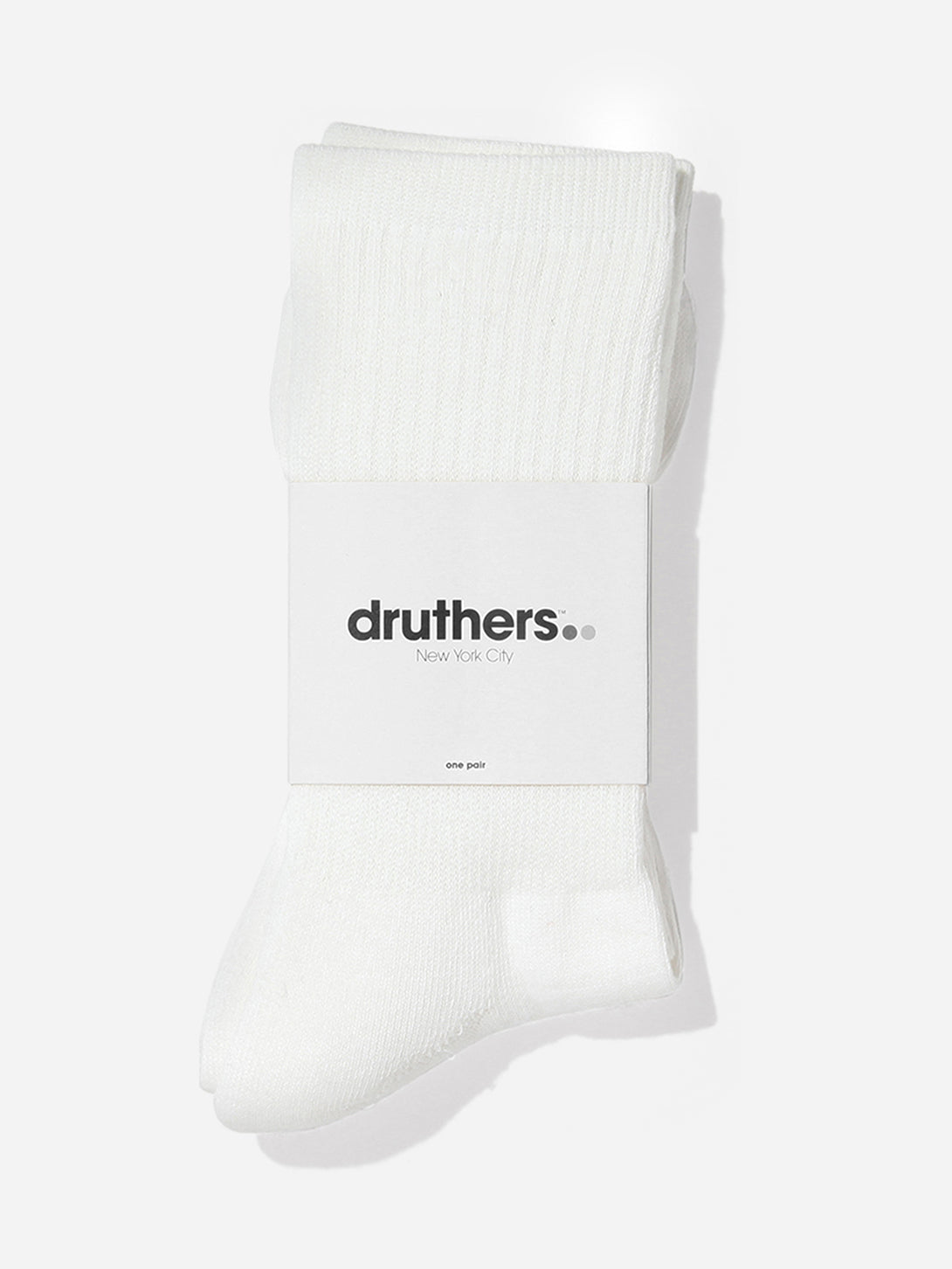 WHITE druthers socks for ons clothing