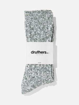 GREEN/WHITE druthers ribbed crew sock