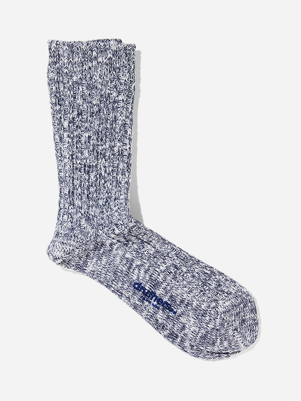 NAVY/WHITE druthers ribbed crew sock