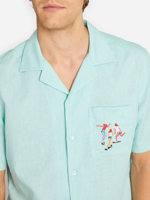 EGGSHELL BLUE OKI CAMP COLLAR SHIRT ONS LEAH GOREN