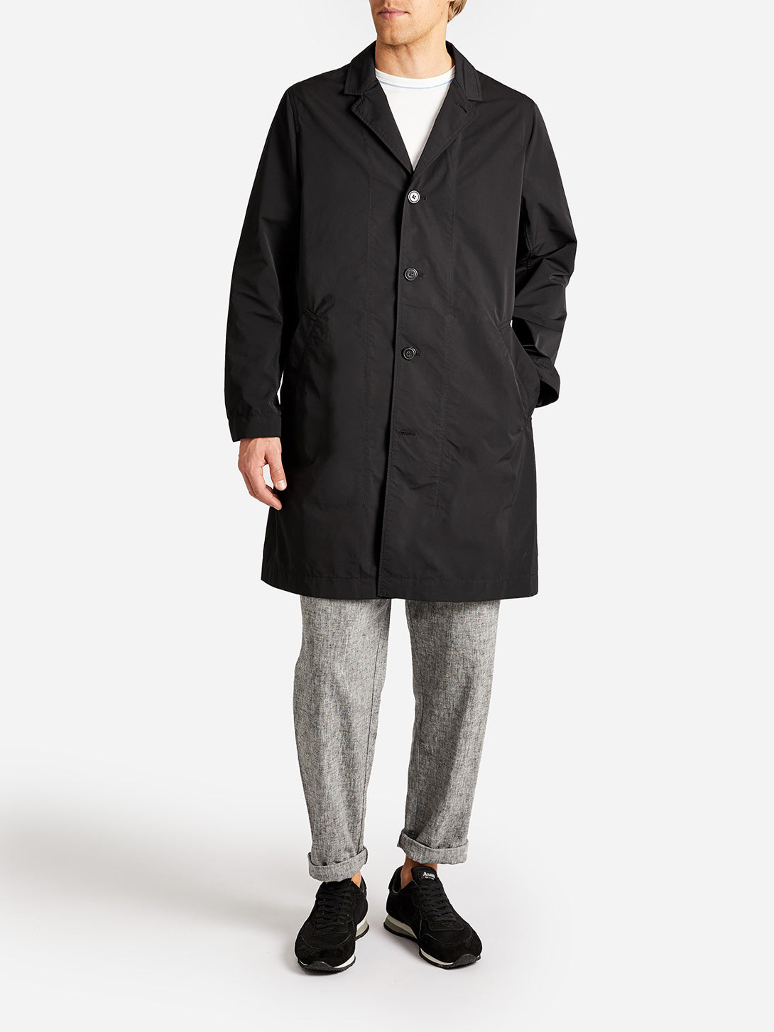VANDAM PACKABLE COAT JET BLACK GREY LABEL
