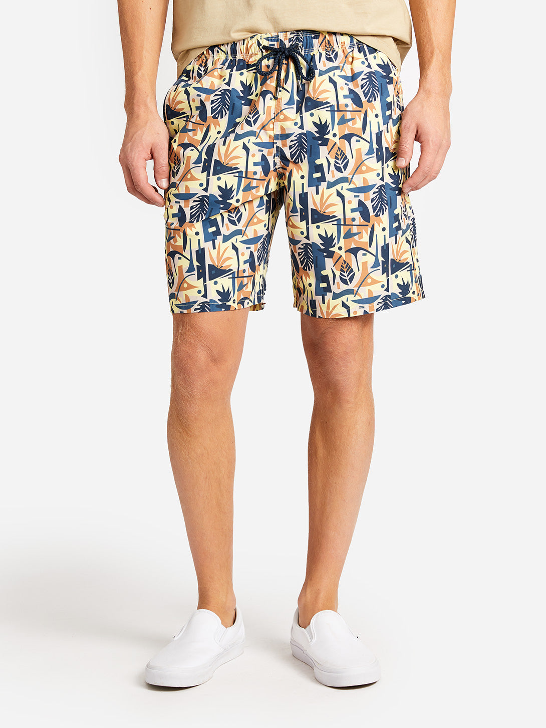 BRIGHTON SWIM SHORT YELLOW PRINT ONS CLOTHING