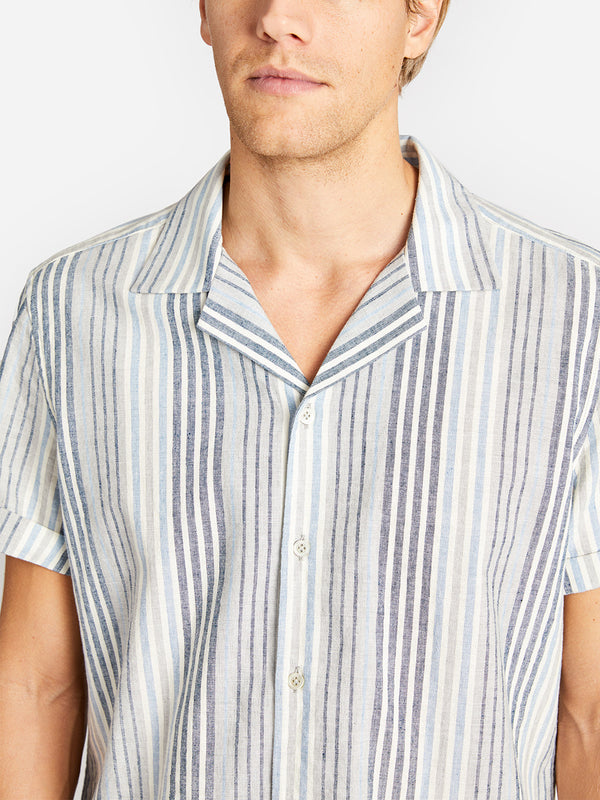 RYDE CAMP COLLAR SHIRT BLUE MULTI-STRIPE ONS CLOTHING