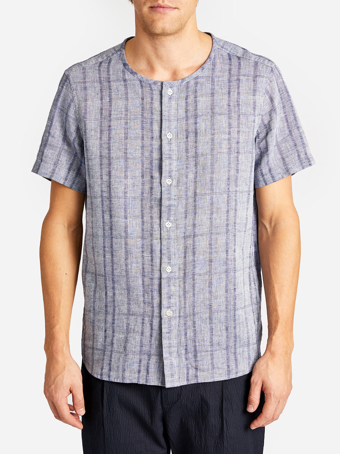 AVILA SHIRT NAVY CHECK GREY LABEL