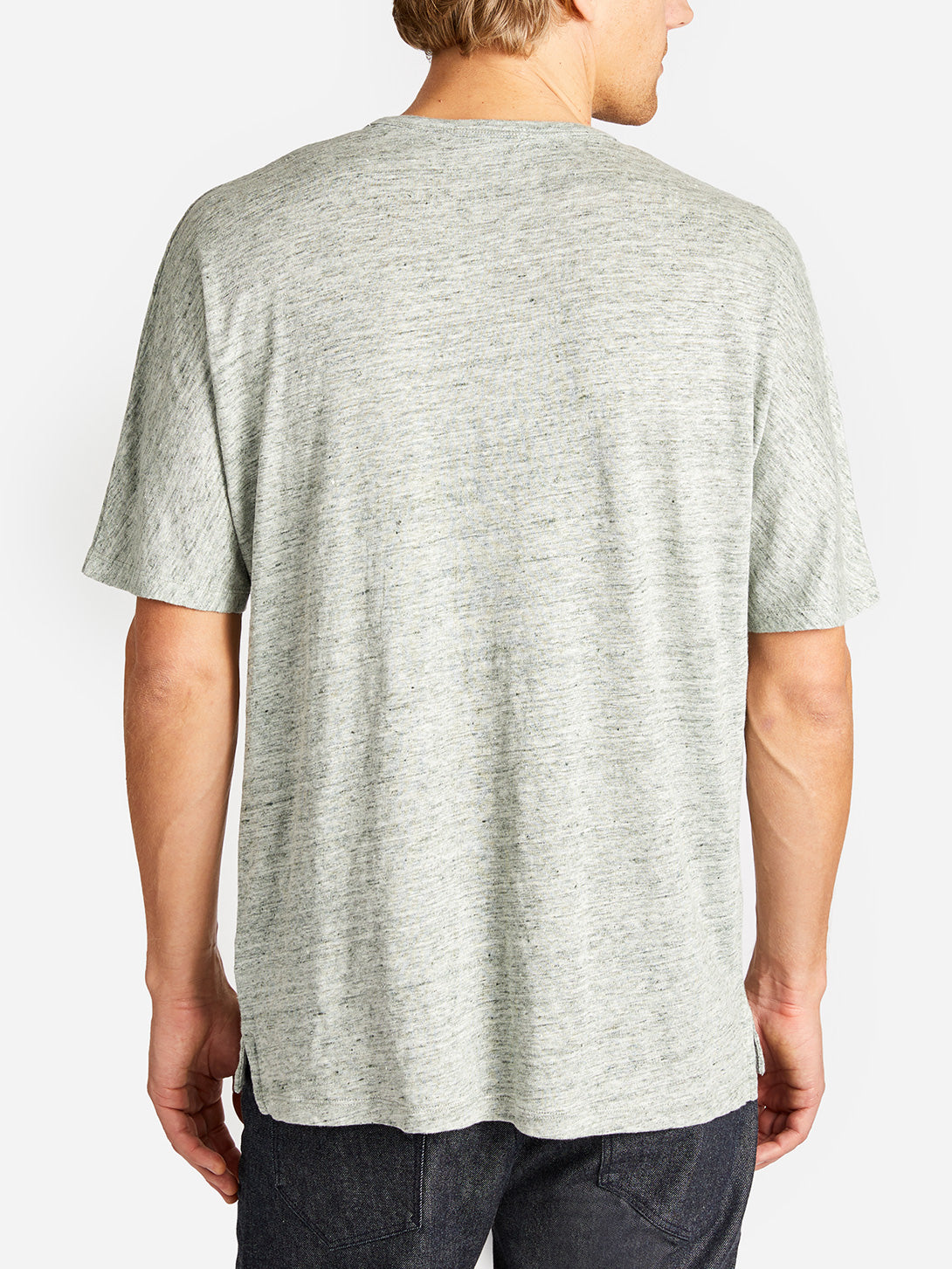 HIGHLAND DOLMAN LINEN TEE MOSS HEATHER GREY LABEL