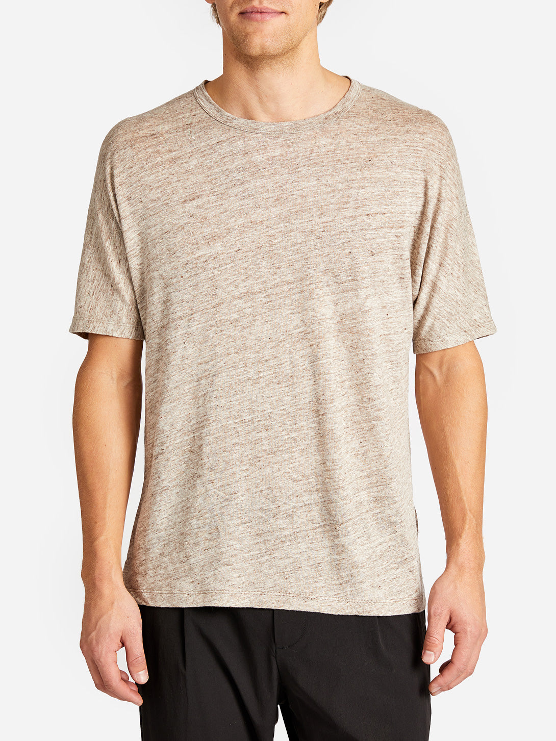 HIGHLAND DOLMAN LINEN TEE SAND HEATHER GREY LABEL