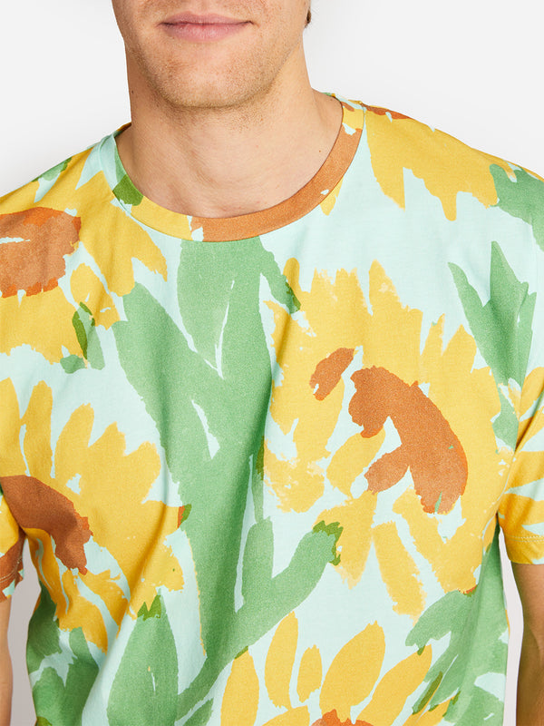 SUNFLOWER PRINT TEE GREEN ONS CLOTHING LEAH GOREN