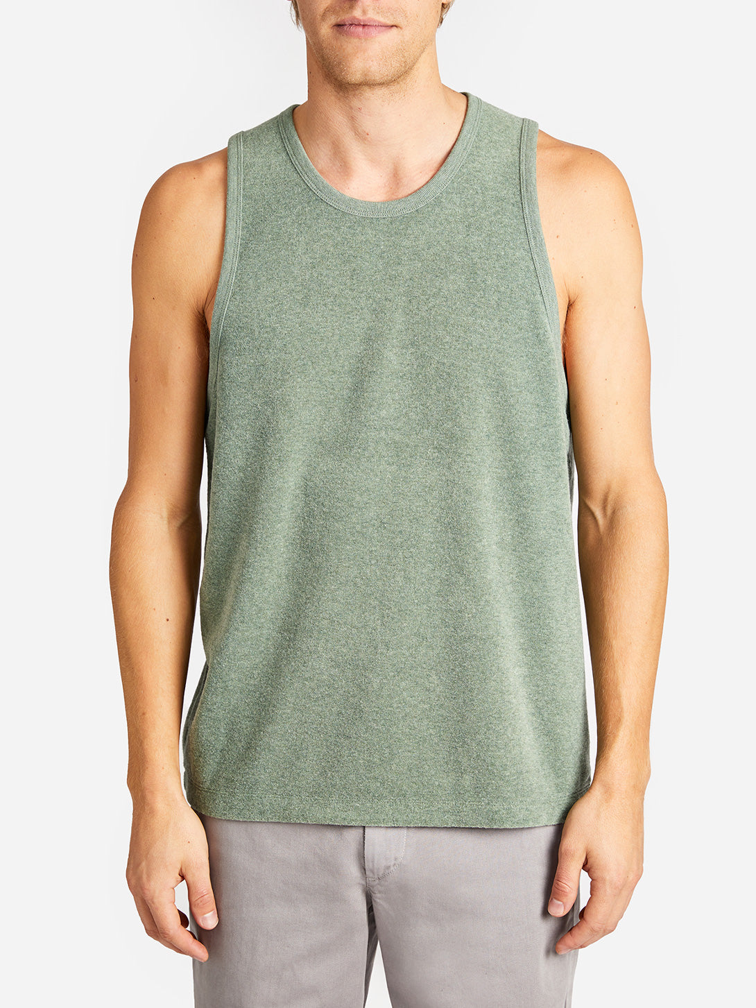REVERSE TERRY TANK SAGE ONS MENS CLOTHING