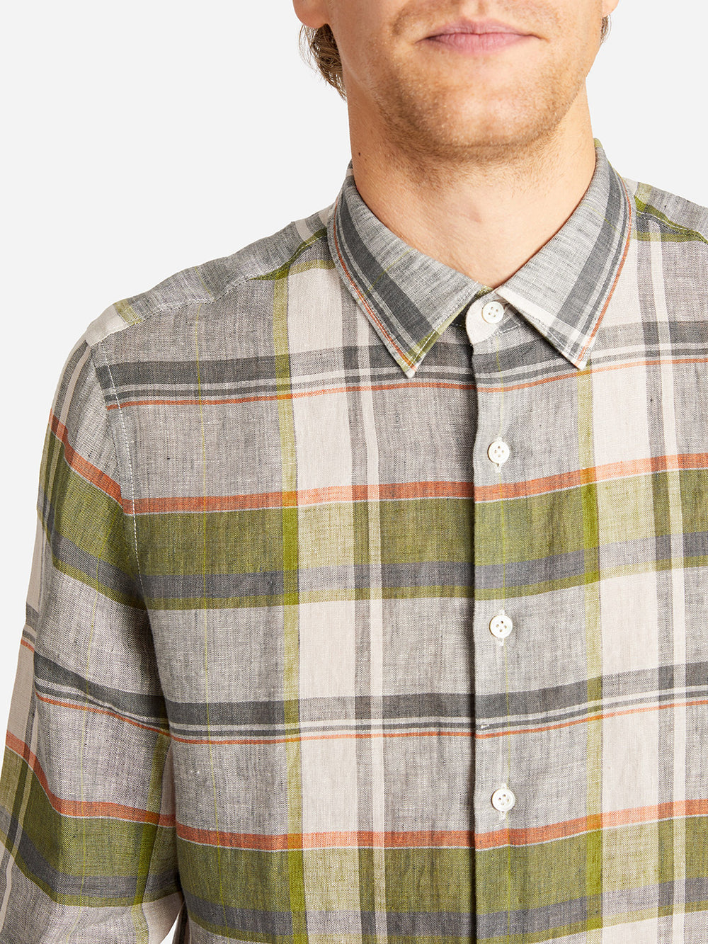 ADRIAN CHECK SHIRT GREEN ONS CLOTHING