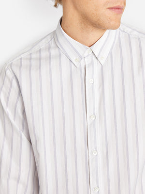BASTION BUTTON DOWN NAVY -CEMENT STRIPE