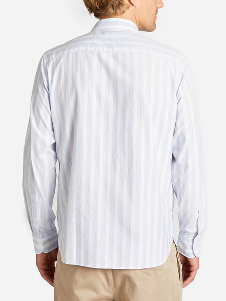BASTION BUTTON DOWN  OCEAN -CEMENT STRIPE ONS CLOTHING