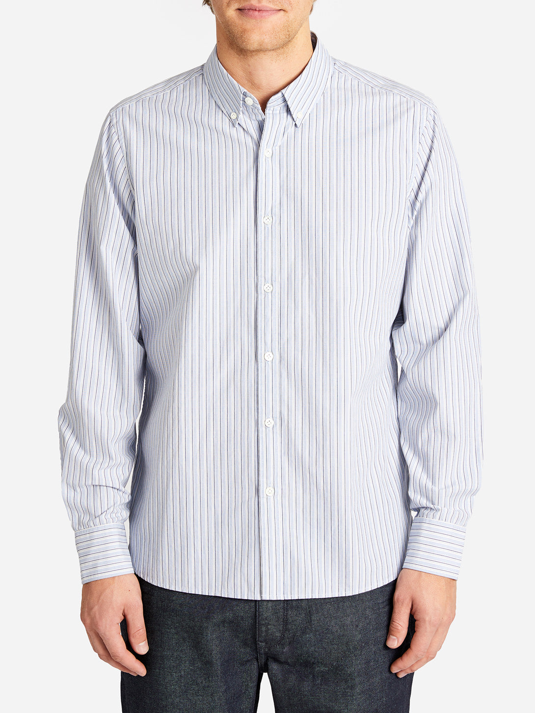 BASTION BUTTON DOWN  BLUE STRIPE ONS CLOTHING
