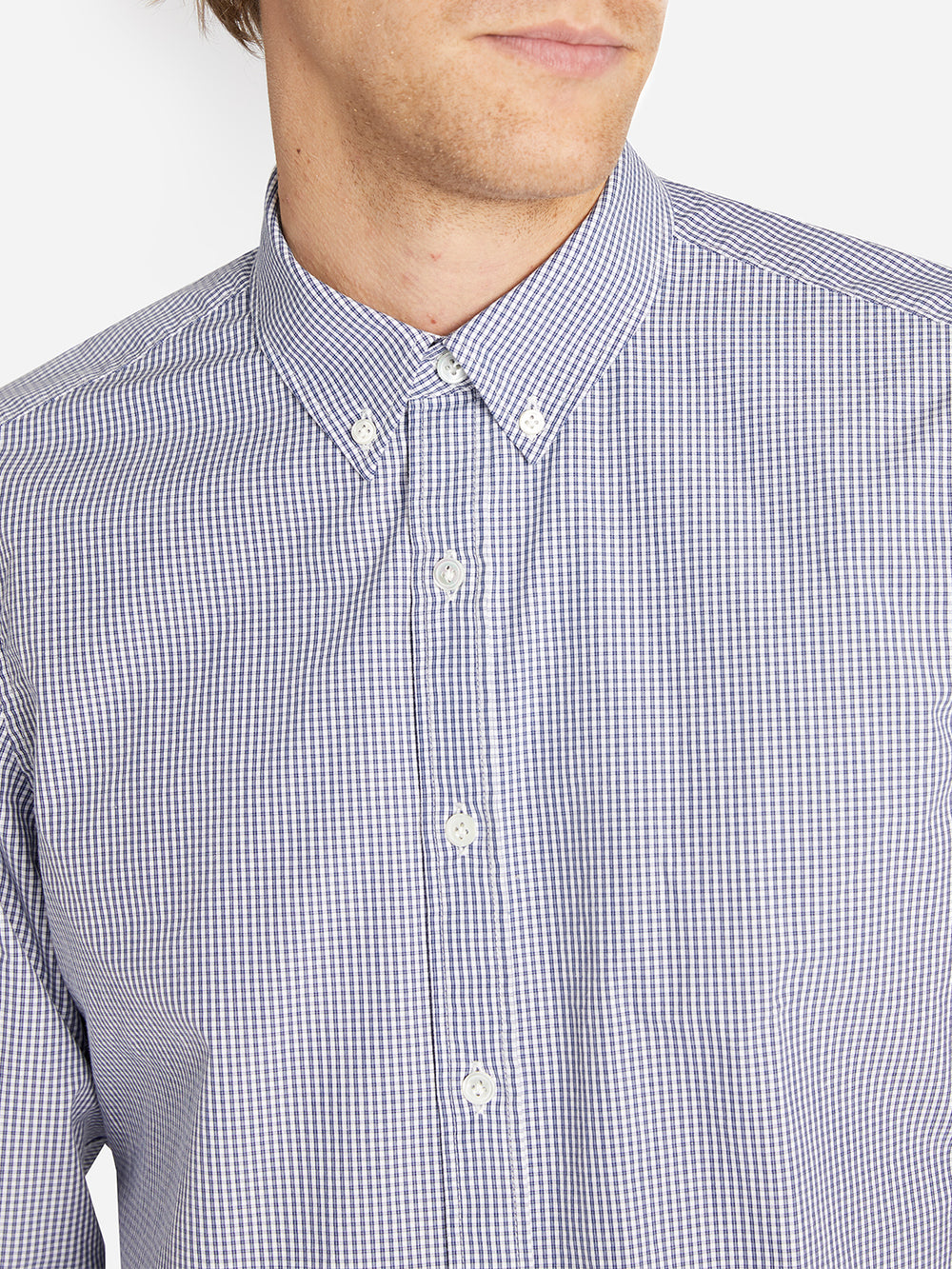 ARTHUR SHIRT NAVY MINI CHECK HERITAGE LINE