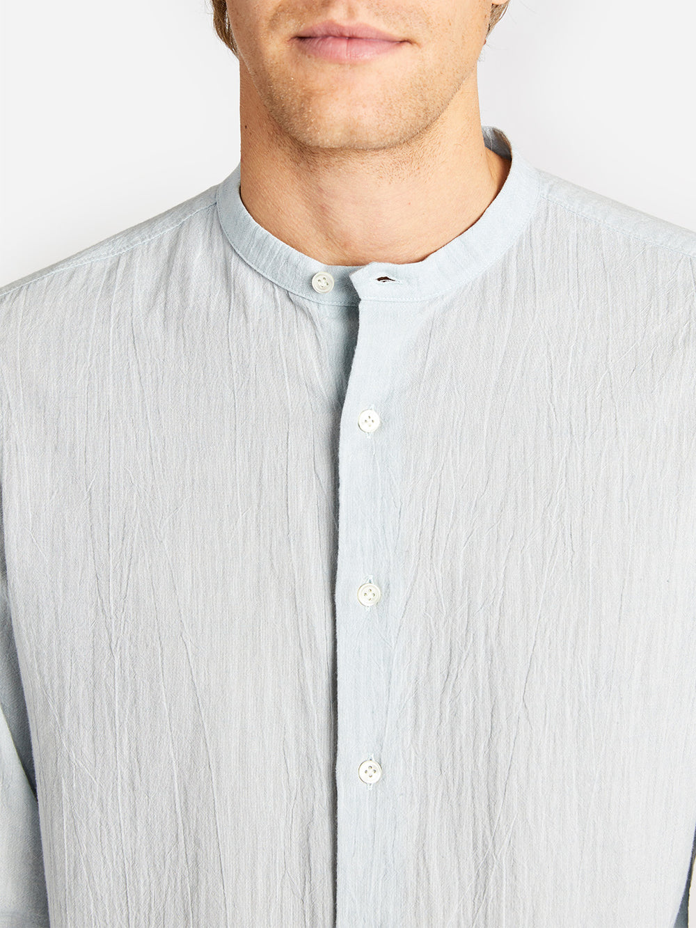 EDEN STAND COLLAR SHIRT SEA FOAM GREY LABEL