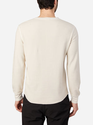 black friday deals ONS Clothing Men's COURT WAFFLE HENLEY Pre-shrunk Cotton in BEIGE Pima Cotton