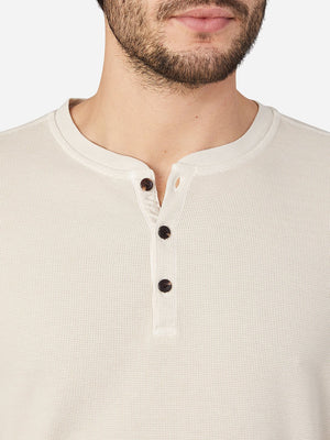BEIGE long sleeve shirt for men court waffle henley ons clothing