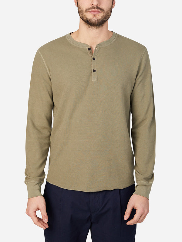 OLIVE long sleeve shirt for men court waffle henley ons clothing