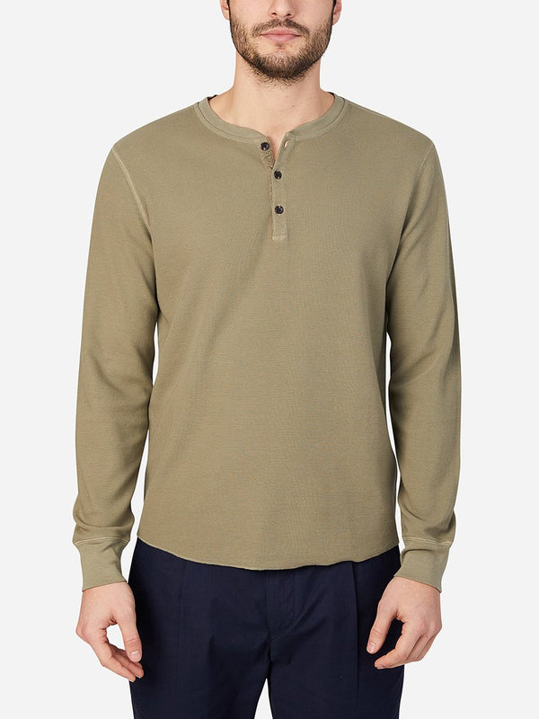 ONS Clothing Men's COURT WAFFLE HENLEY in LIGHT OLIVE GREEN