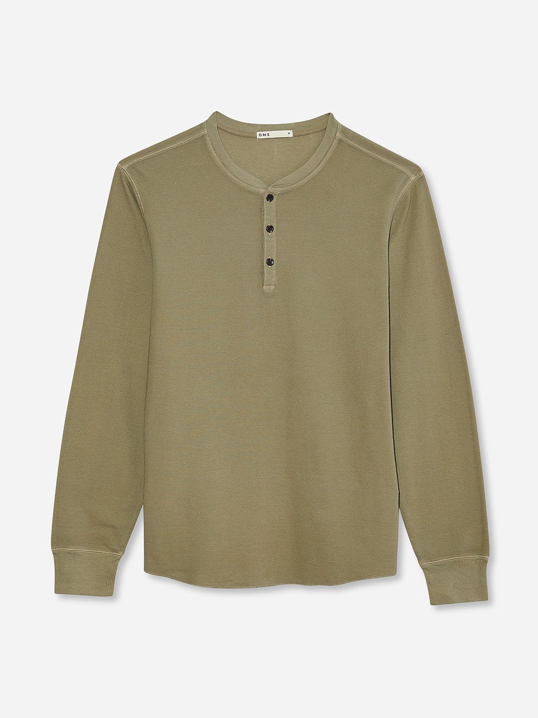 black friday deals ONS Clothing Men's COURT WAFFLE HENLEY Pre-shrunk Cotton in LIGHT OLIVE GREEN Pima Cotton