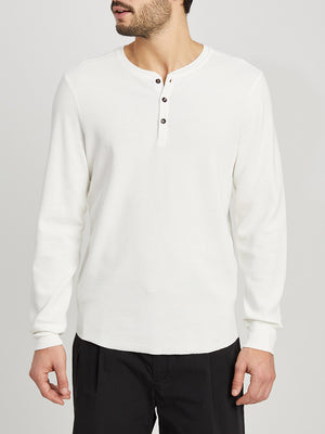 WHITE long sleeve shirt for men court waffle henley ons clothing