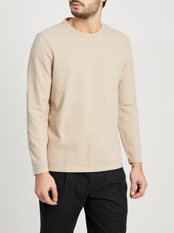 BEIGE long sleeve shirt for men torrey crew neck tee ons clothing