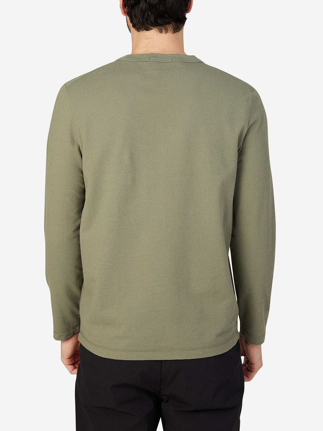 OLIVE GREEN long sleeve shirt for men torrey crew neck tee ons clothing