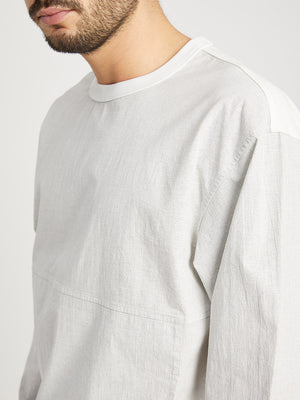 WHITE long sleeve shirt for men hilden crew neck pullover ons clothing