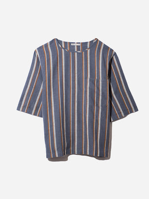 BLUE STRIPE short sleeve linen tee for men brexton tee by ONS Clothing