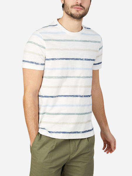 GREEN STRIPE t shirts for men village crew neck print tee ons clothing