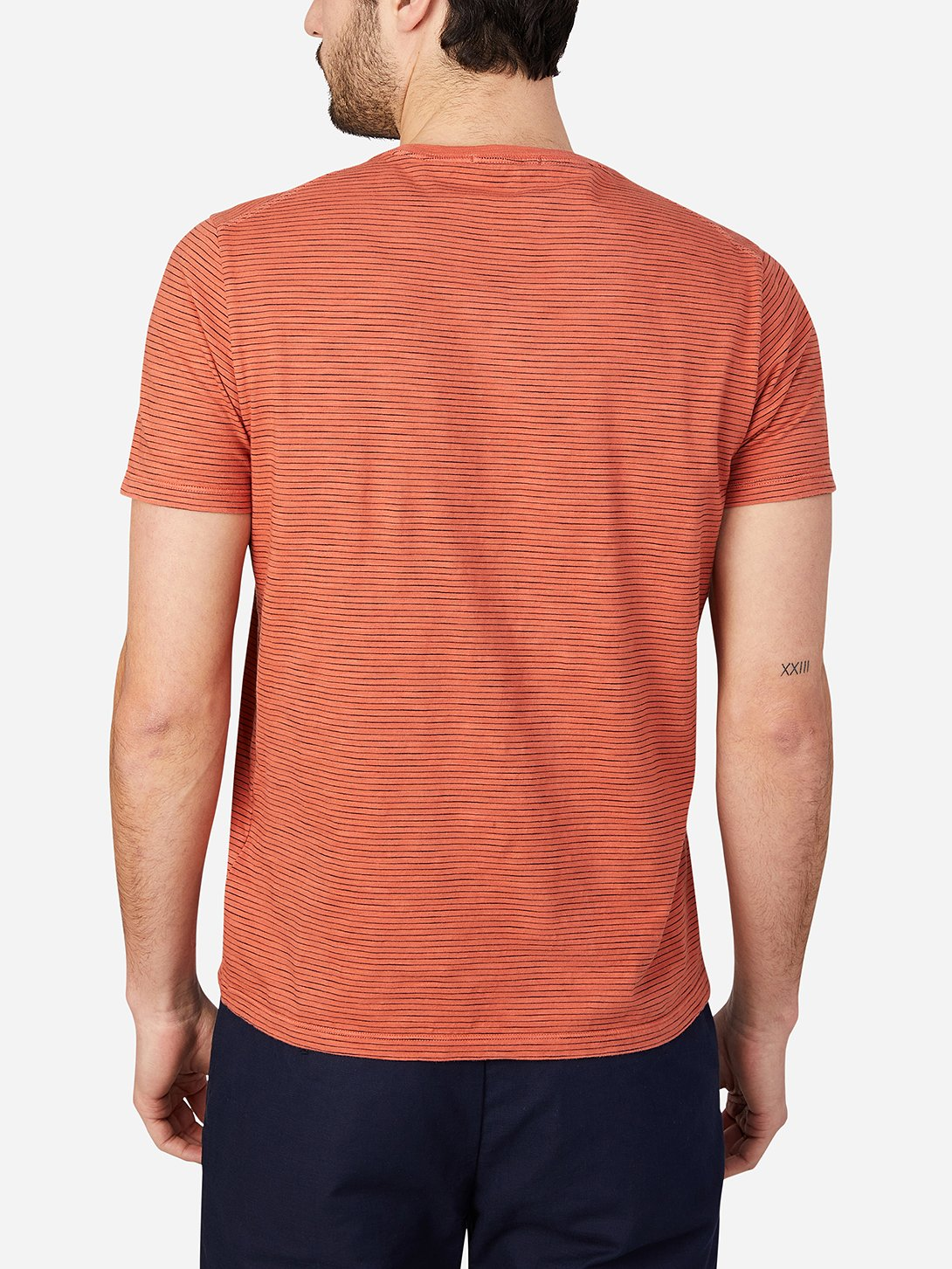 ORANGE STRIPE t shirts for men bowery stripe pocket tee ons clothing