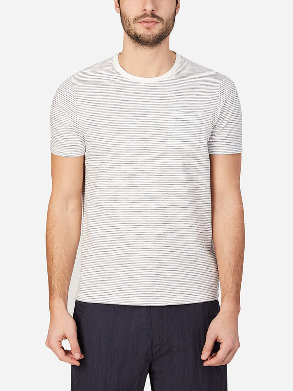 WHITE STRIPE t shirts for men bowery stripe pocket tee ons clothing