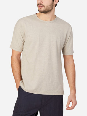 BEIGE short sleeve t-shirt for men reno crew neck tee by ons clothing