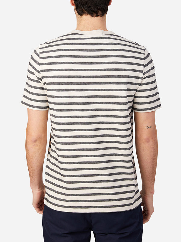 BLACK STRIPE t shirts for men calden crew neck tee ons clothing