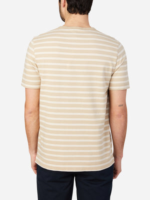 KHAKI STRIPE t shirts for men calden crew neck tee ons clothing